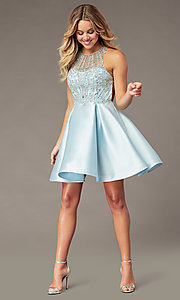 Image of sparkly ice blue short homecoming dress. Style: BL-PL-220AIB Front Image