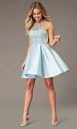 Ice Blue Short Homecoming Dress by PromGirl