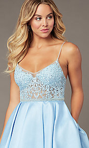 Image of ice blue short a-line homecoming dress by PromGirl. Style: BL-PL-37IB Detail Image 1