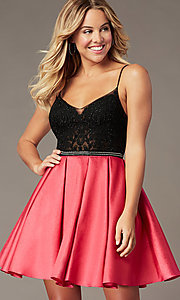 Image of short lace-bodice sparkly homecoming dress. Style: BL-PL-37BW Front Image