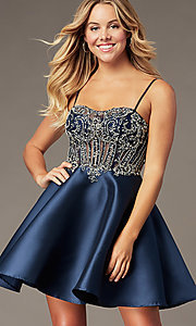 Image of short sparkly navy blue sweetheart hoco dress. Style: BL-PL-221B Front Image