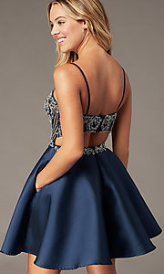 Image of short sparkly navy blue sweetheart hoco dress. Style: BL-PL-221B Detail Image 1