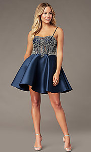 Image of short sparkly navy blue sweetheart hoco dress. Style: BL-PL-221B Detail Image 2