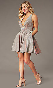 Image of sparkly copper short homecoming dress by PromGirl. Style: BL-PL-41 Detail Image 2