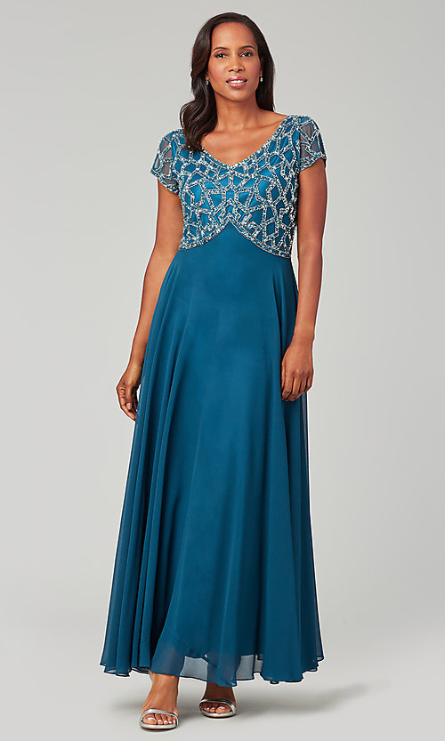 Image of long chiffon mother-of-the-bride formal dress. Style: JKA-5186 Detail Image 2