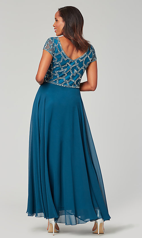 Image of long chiffon mother-of-the-bride formal dress. Style: JKA-5186 Detail Image 3