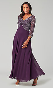Image of long chiffon formal MOB dress with 3/4 sleeves. Style: JKA-5206 Front Image