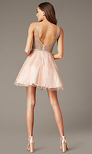 Image of glitter-mesh short v-neck homecoming party dress. Style: DQ-3178 Detail Image 4