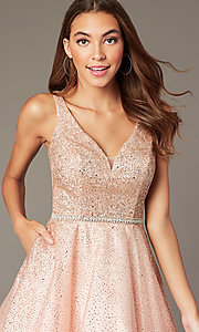 Image of glitter-mesh short v-neck homecoming party dress. Style: DQ-3178 Detail Image 6
