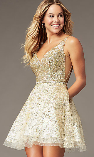 Glitter-Mesh Short V-Neck Homecoming Party Dress