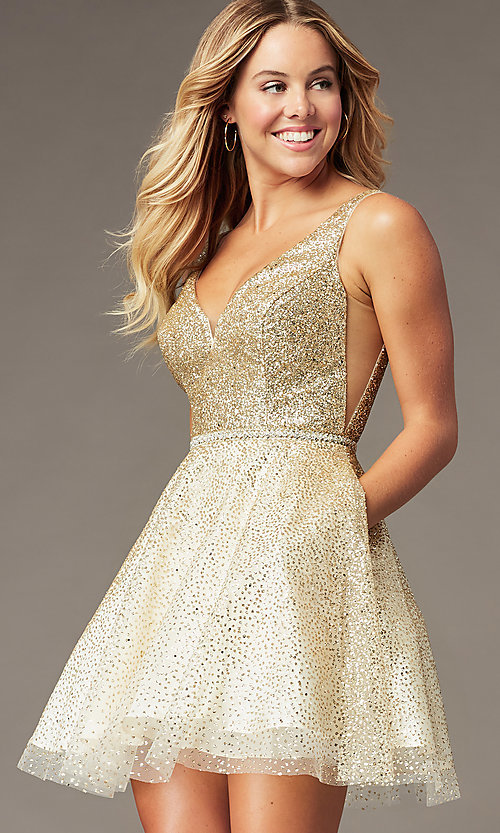 Image of glitter-mesh short v-neck homecoming party dress. Style: DQ-3178 Front Image