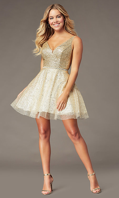 Image of glitter-mesh short v-neck homecoming party dress. Style: DQ-3178 Detail Image 2