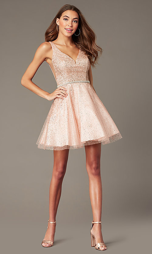 Image of glitter-mesh short v-neck homecoming party dress. Style: DQ-3178 Detail Image 3