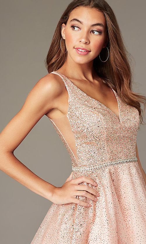 Image of glitter-mesh short v-neck homecoming party dress. Style: DQ-3178 Detail Image 5