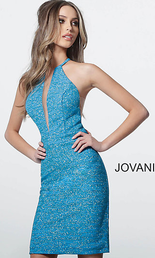 Glitter Homecoming Dress with Illusion Insets