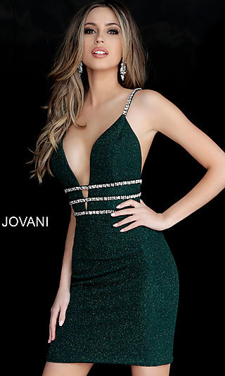 Short Glitter Deep V-Neck Homecoming Dress