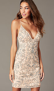 Image of embellished short v-neck hoco dress by PromGirl. Style: PV-PL-152 Detail Image 4