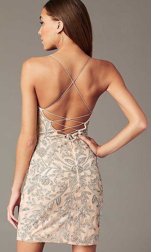Image of embellished short v-neck hoco dress by PromGirl. Style: PV-PL-152 Detail Image 5