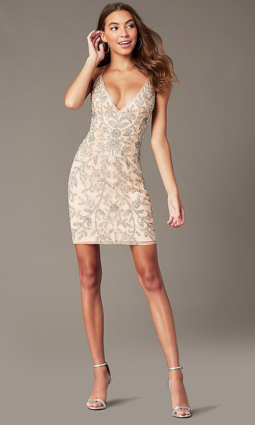 Image of embellished short v-neck hoco dress by PromGirl. Style: PV-PL-152 Detail Image 6