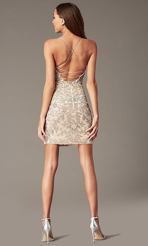Image of embellished short v-neck hoco dress by PromGirl. Style: PV-PL-152 Detail Image 7