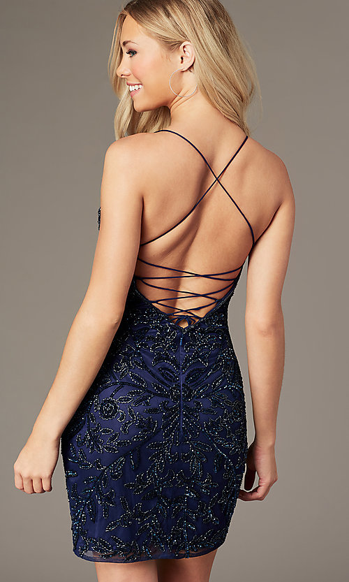 Image of embellished short v-neck hoco dress by PromGirl. Style: PV-PL-152 Back Image