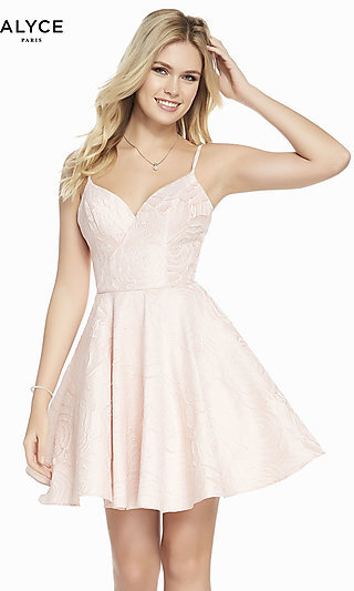 Short Fit-and-Flare Pink Designer Homecoming Dress