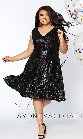 Knee-Length Sequin Plus Homecoming Dress