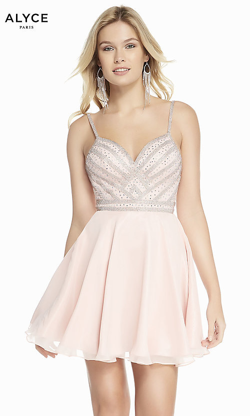 Image of short a-line champagne pink chiffon party dress. Style: AL-A4150 Front Image