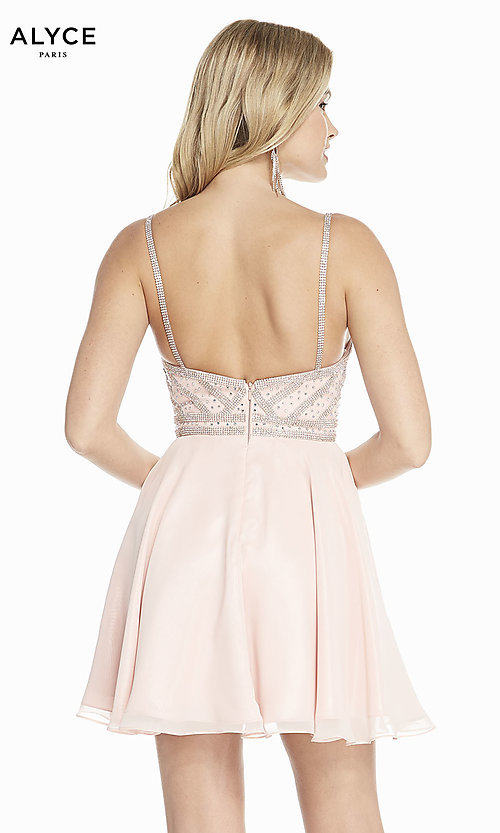 Image of short a-line champagne pink chiffon party dress. Style: AL-A4150 Back Image