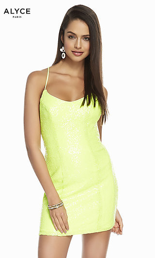 Sequin Alyce Homecoming Dress with a Lace-Up Back