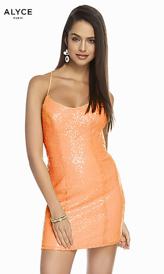 Alyce Sequin Homecoming Dress with Lace-Up Back