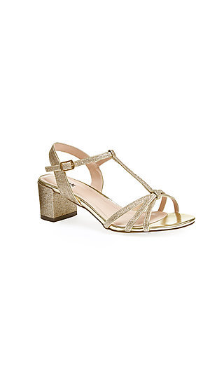 Gold Glitter Sadie Sandal with an Open Toe