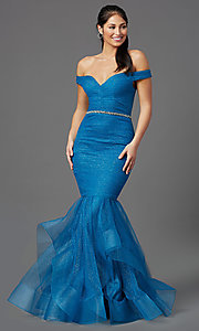 Image of off-shoulder long teal glitter mermaid prom dress. Style: TI-GL-1911P8366G Front Image