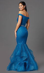 Image of off-shoulder long teal glitter mermaid prom dress. Style: TI-GL-1911P8366G Back Image