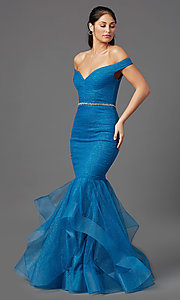 Image of off-shoulder long teal glitter mermaid prom dress. Style: TI-GL-1911P8366G Detail Image 2