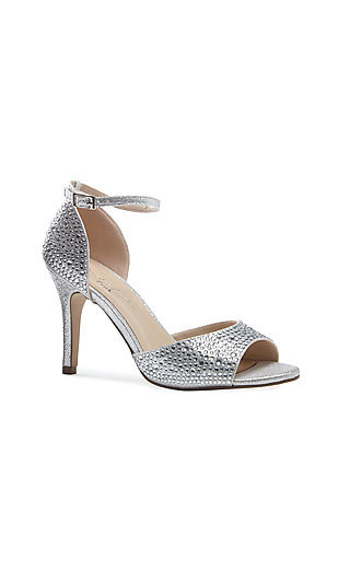 Mira Silver Heel with an Ankle Strap