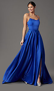 Image of long satin royal blue prom dress with pockets. Style: TI-GL-1911P8178G Front Image