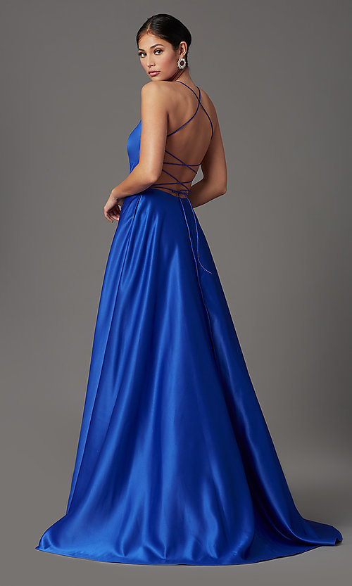 Image of long satin royal blue prom dress with pockets. Style: TI-GL-1911P8178G Back Image