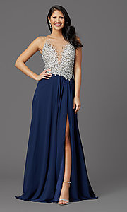 Image of navy long sleeveless prom dress with illusion bodice. Style: TI-GL-1612P0502G Front Image