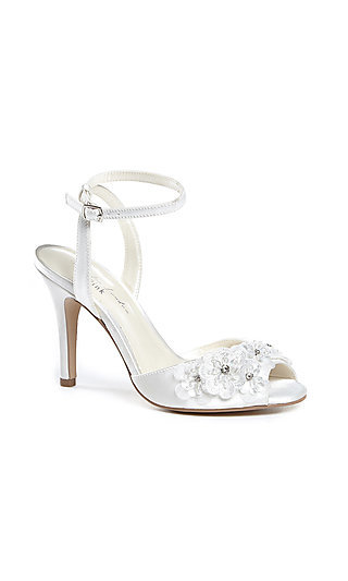 Ivory Moonflower Heel with Flower Details