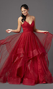 Image of long glitter tulle backless ruby red prom dress. Style: TI-GL-1811P5849 Front Image