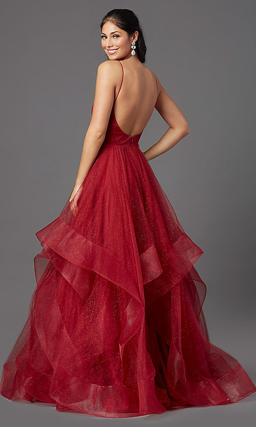 Image of long glitter tulle backless ruby red prom dress. Style: TI-GL-1811P5849 Back Image