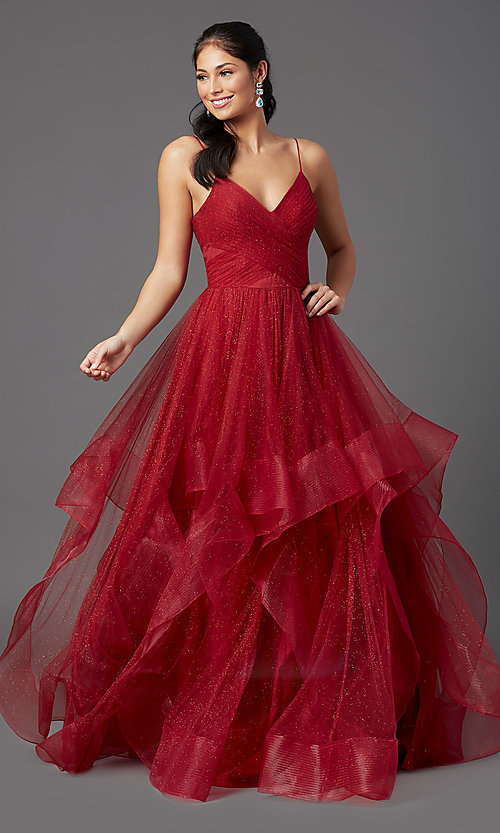 Image of long glitter tulle backless ruby red prom dress. Style: TI-GL-1811P5849 Detail Image 2