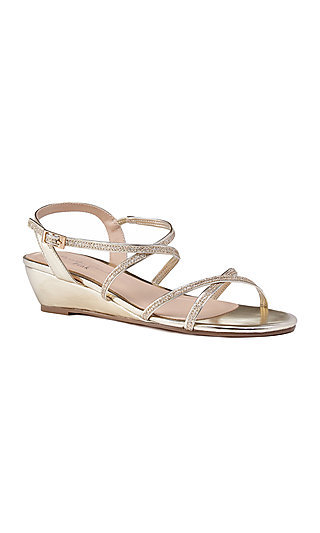 Gold Kadie Wedge-Heeled Sandal