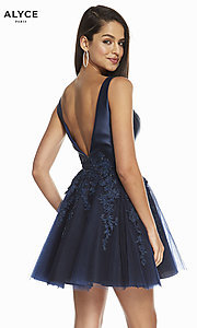 Image of Alyce short navy and black homecoming party dress. Style: AL-3842 Back Image