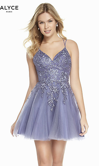 Short Lavender Fit-and-Flare Homecoming Dress