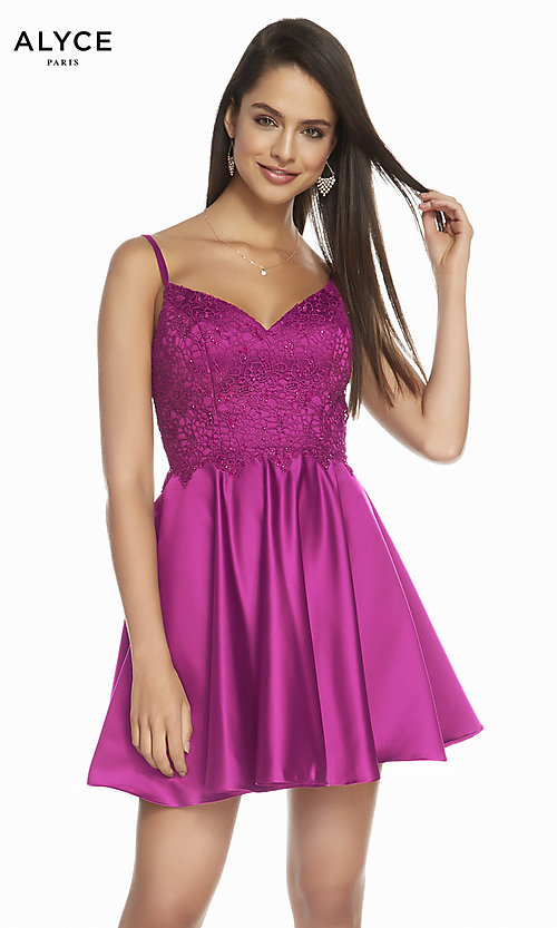 Image of short a-line silk designer homecoming party dress. Style: AL-3848 Detail Image 1