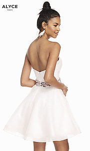 Image of short strapless homecoming dress in french pink. Style: AL-3856 Back Image