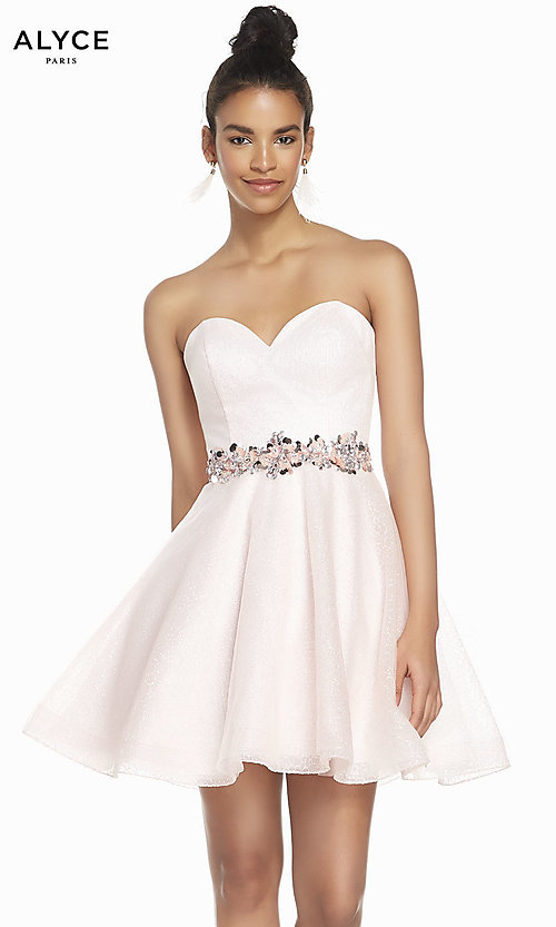 Image of short strapless homecoming dress in french pink. Style: AL-3856 Front Image