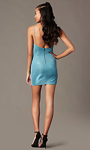 Image of bustier-bodice short blue holiday party dress. Style: BLU-IBD96108-1 Back Image